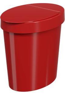 Lixeira Oval 5L Polietileno Vermelha Brinox