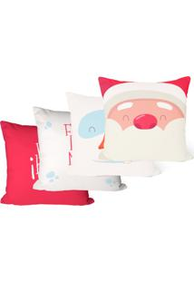 Kit 4 Capas Para Almofadas Decorativas Papai Noel Ho Ho Ho 35X35Cm - Vermelho - Dafiti
