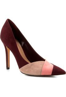 b436a56a71 ... Scarpin Couro Shoestock Salto Alto Nobuck Recortes - Feminino-Vinho