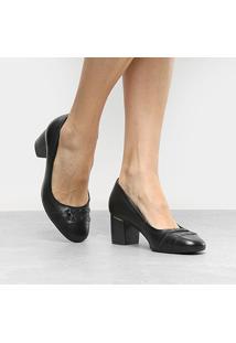 Scarpin Couro Comfortflex Salto Médio Metais - Feminino-Preto