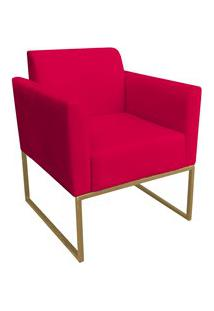 Poltrona Decorativa Base Industrial Dourada Maressa S16 Suede Vermelho