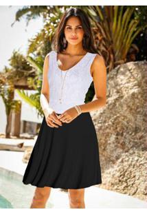 Vestido Com Renda Branco/Preto