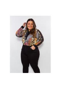 Blusa Plus Size Feminina Claubitex Estampada Com Renda