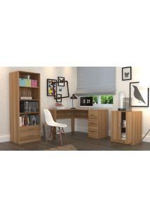 Conjunto Escritório Office Plus Appunto 3 Peças: Armário Com Gavetas, Escrivaninha Em L Com 3 Gavetas E Balcão - Castanho - Multistock