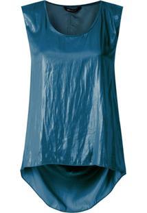 Uma | Raquel Davidowicz Blusa Calamari Acetinada Drapeada - Azul