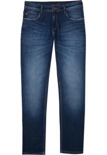 Calça Dudalina Premium Washed Dark Blue Masculina (Jeans Escuro, 46)