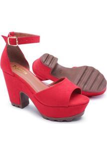 Sandalia Gh Calcados Salto Alto Tratorada Feminina - Feminino-Vermelho