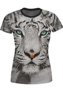 Camiseta Baby Look Tigre De Bengala Over Fame Cinza