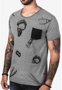 Camiseta Hermoso Compadre Barber Skull Masculina - Masculino-Cinza