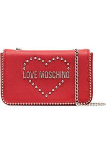 Love Moschino Bolsa Tiracolo Com Logo De Tachas - Vermelho