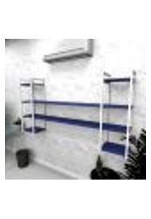 Estante Industrial Escritório Aço Cor Branco 180X30X98Cm (C)X(L)X(A) Cor Mdf Azul Modelo Ind49Azes