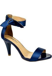 Sandália Cetim Dandara Feminina - Feminino-Azul