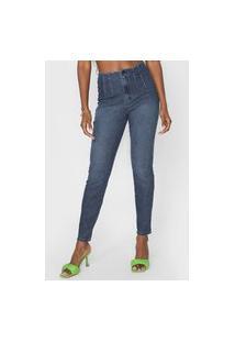 Calça Jeans Lez A Lez Skinny Pregas Azul-Marinho