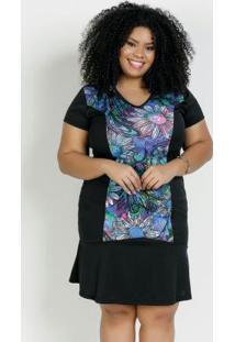 Vestido Curto Floral E Preto Babado Plus Size