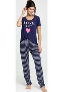 Pijama Feminino Listrado Manga Curta Marisa