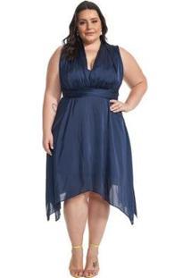 Vestido Lala Dubi Plus Size Infinity Dress Midi - Feminino-Azul Escuro