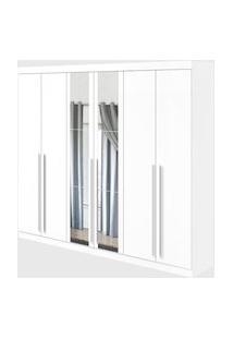 Guarda Roupa Casal C/ Espelho 6 Portas 4 Gavetas Castellaro Branco Móveis Lopas