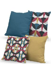 Kit 4 Capas De Almofadas Decorativas Own Mosaico Colorido 45X45 - Somente Capa