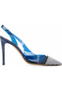 Alexandre Vauthier Sapato De Couro Bico Fino Com Tira Posterior - Azul