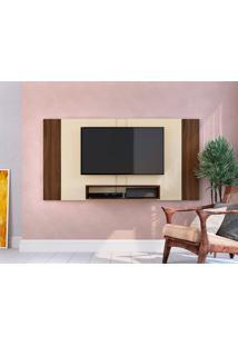 Painel Extensível Para Tv Até 55 Polegadas Chante Off White E Marrom