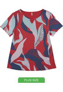 Blusa Manga Curta Com Decote Vermelho