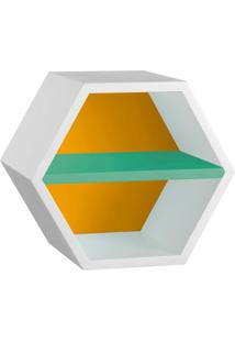 Nicho Hexagonal Favo Ii Com Prateleira Branco Com Amarelo E Verde Anis