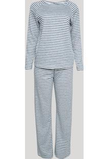 Pijama Feminino Listrado Manga Longa Cinza Mescla Escuro