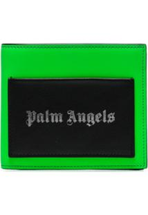 Palm Angels Carteira Dorbrável Com Patch De Logo - Verde