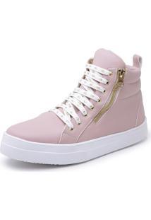 Botinha Feminina Top Franca Shoes Cano Médio Rosa