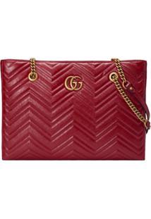 fd02b6f70 ... Gucci Bolsa Tote Matelassê 'Gg Marmont' Média - Vermelho