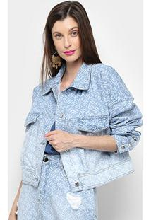 Jaqueta Jeans Morena Rosa Estampada Feminina - Feminino-Estampado