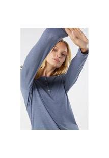 Blusa Canelado Mistura Modal Mangas Compridas - Azul P Intimissimi