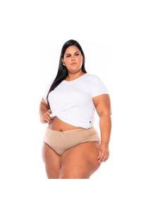 Calcinha Cotton Renda Bege Plus Size Xm Ao G5 Multicolorido
