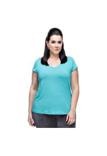 T-Shirt Plus Size Melinde Decote V Verde