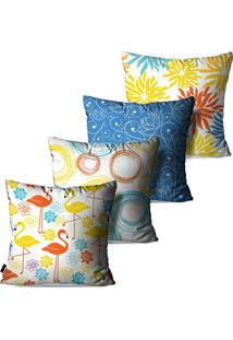 Kit Com 4 Capas Para Almofadas Pump Up Decorativas Branco Flamingos Flores Abstrato 45X45Cm