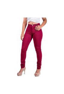 Calça Memorize Jeans Feminina Cintura Alta Skinny Vinho