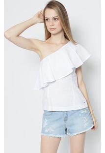 Blusa Ombro Único Com Babado- Branca- Colccicolcci