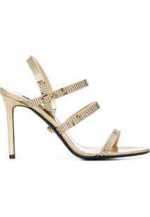Versace Sandália Com Brilho - Metálico