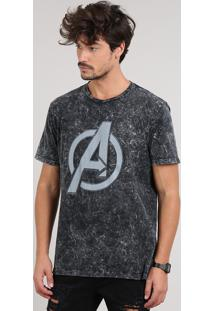 Camiseta Masculina Avengers Manga Curta Gola Careca Preta