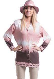 Camisa Marcia Mello Tie Dye Com Barrado Rose