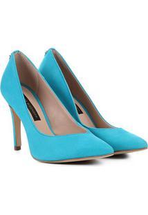 Scarpin Couro Jorge Bischoff Nobuck Feminino - Feminino-Azul Claro