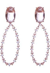Brinco Obietto Alongado Morganita Fusion Com Micro Zircônias Cristal Cravejada Em Banho Rose