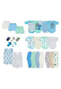 Kit 25 Peças Enxoval Roupa De Bebê Meia Estaçáo - Menino Azul