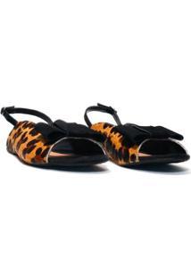 Sandália Flat Margo, Leopardo Feminino - Feminino-Amarelo+Preto