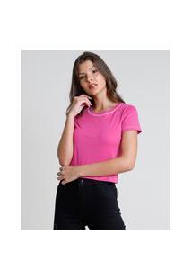 Blusa Feminina Básica Cropped Manga Curta Decote Redondo Pink