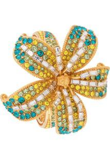 Versace Pulseira Com Aplicação De Flores - Dourado