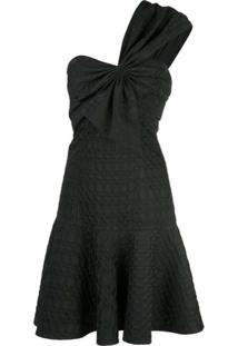 Josie Natori Vestido De Um Ombro Só Em Jacquard - Preto