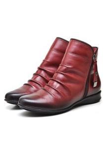 Bota Botinha De Couro Cano Curto Feminino, Kauany Calçados, 0703 Lady Marsala