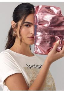 Bolsa Amaro Slouchy Alã§A RemovãVel Rosa Metalizado - Rosa - Feminino - Dafiti