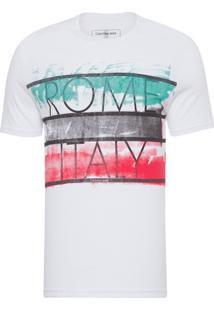 Camiseta Ckj Mc Estampa Países - Branco